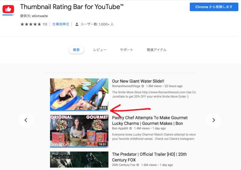 YouTubeのサムネイルに評価を表示する
